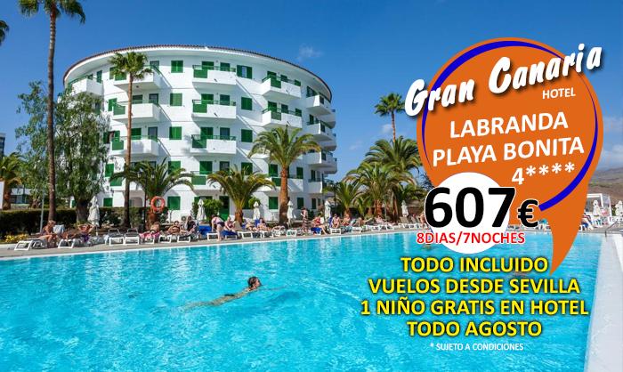Oferta :: Hotel Labranda Playa Bonita 4**** :: Gran Canaria :: Todo Incluido :: 8 Dias / 7 Noches :: Vuelos desde Sevilla :: 1º Niño Gratis en el Hotel :: Tasas de Aeropuerto Incluido :: Traslados
